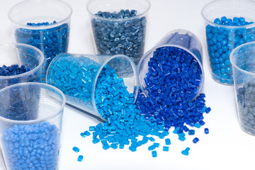 selection of blue thermoplastic resin