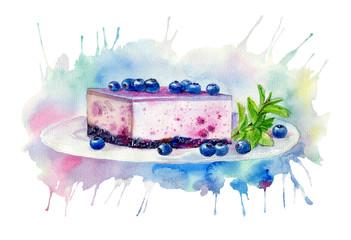 Desserts with blueberries.Cheesecake and mint.Food picture.Watercolor hand drawn illustration.Background colored splash.