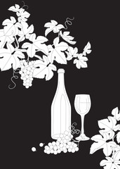 Black and white outlines branches of grape wine glass and bottle