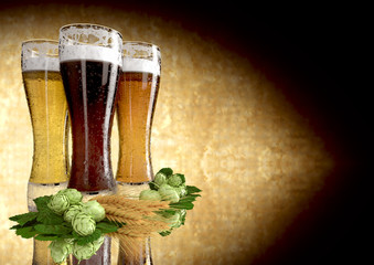 three kinds of beer, barley, hops - 3D render