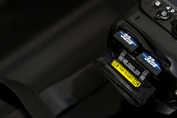 Two SD memory flash card in DSLR camera.