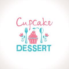 Cupcake. Dessert vector logo template. Logo confectionery, coffee shop.