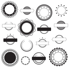 Set of empty blank vintage stickers, stamps and badges, design elements, black isolated on white background, vector illustration.