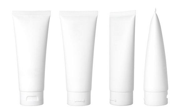 Blank white cosmetic tube isolated on white background
