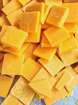The pieces of beeswax to make candle