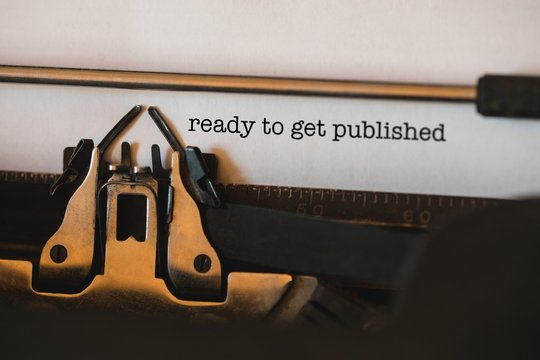 Ready to get published against close-up of typewriter