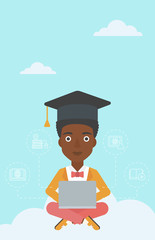 Graduate sitting on cloud.