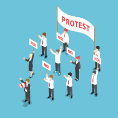 Isometric business people demonstration or Protest with megaphon