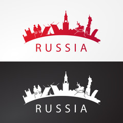Modern concept Travel to Russia. Russia famous places