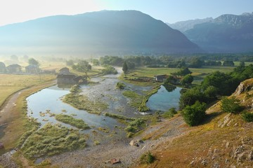 misty on Ali-Pasha spring in Gusinje, Montenegro