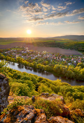 Fototapete - Spring Slovakia panorama landscape with river Hron.