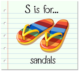 Flashcard letter S is for sandals