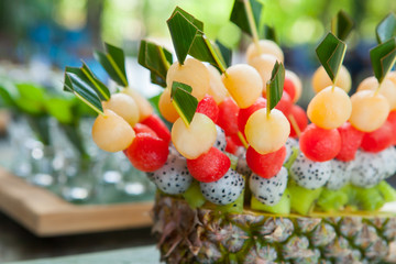 Canape with fruits on the wedding party
