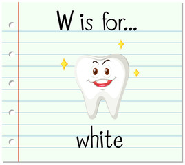 Flashcard letter W is for white