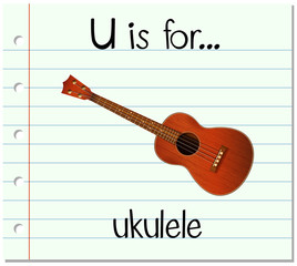 Flashcard letter U is for ukulele