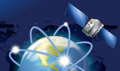 Satellite orbitting around the earth