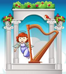 Angel flying around harp in heaven