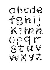 Vector alphabet. Hand drawn letters written with a brush