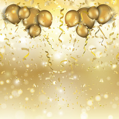 Gold balloons and confetti background