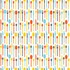 Colorful seamless pattern with silhouettes of cutlery. Wallpaper with colored silhouettes of cutlery. Silhouettes fork, knife, teaspoon, tablespoon. Vector