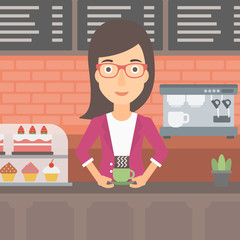Woman making coffee.