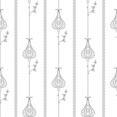 Seamless vector floral  pattern. Symmetrical repeating background with decorative ornamental flowers and leaves on the white backdrop. Repeating ornament. Series of Line Work Seamless Patterns.