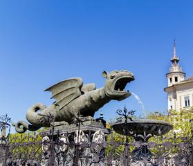 Klagenfurt dragon monument in city center