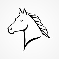 Line art illustration of a horse head