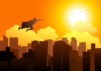 Cartoon silhouette of a superhero flying on cityscape