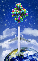the concept of space travel on the plane flying balloons on a ba