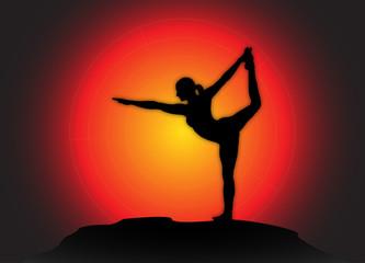 Yoga Dancer Pose Sun Background