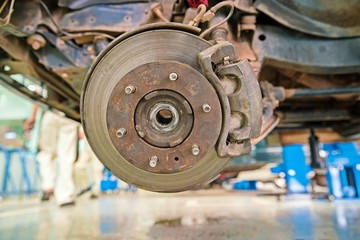 Maintenance scene : Cars Disk Brake System - close up with copy space