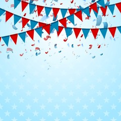 Party flags abstract USA background with confetti