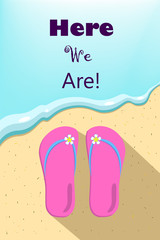 Slippers and ocean wave illustration, vertical vector illustration for summer holiday