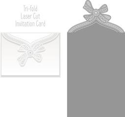 Tri-fold Laser Cut Invitation Card. Laser-cut pattern for invitation card for wedding. Wedding invitation envelope template.