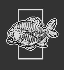 Skeleton piranha and a geometric element.