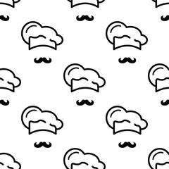 Icono plano patrón con gorro cocinero y bigote sobre fondo blanco