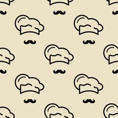 Icono plano patrón con gorro cocinero y bigote sobre fondo rosa