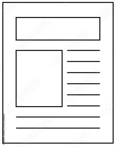 Outline icon of newspaper article stock image and for Free printable newspaper template for students