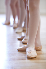 Close Up Of Feet In Children's Ballet Dancing Class