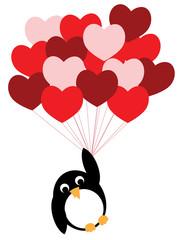 Enamored penguin flies on heart balloons