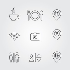 Restaurant and Cafe icons Set. Cooking and kitchen vector illustration.