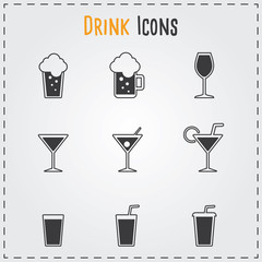 Drinks icons set. Vector gray beverages for cafe and restaurant.