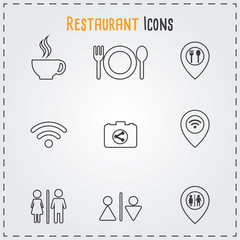 Restaurant and Cafe icons set. Cooking and kitchen vector illustration