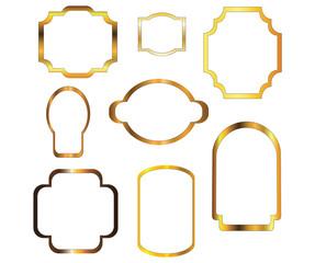 Nine gold frames