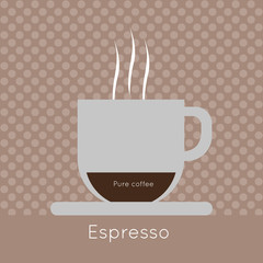 A cup of coffee with steam, with pure coffee and espresso inscriptions, in outlines, over a brown background with dots, digital vector image