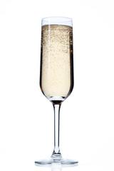 glass full of champagne.