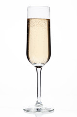 close-up shot of glass full of champagne.