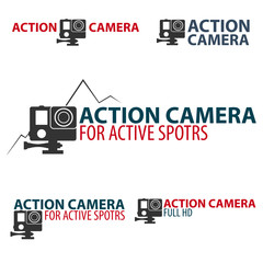 Set Action camera logo. Camera for active sports. Ultra HD. 4K