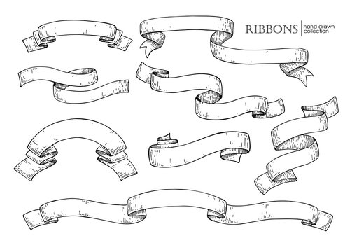 Set of  hand drawn vector scrolled ribbons. Old styled engraved